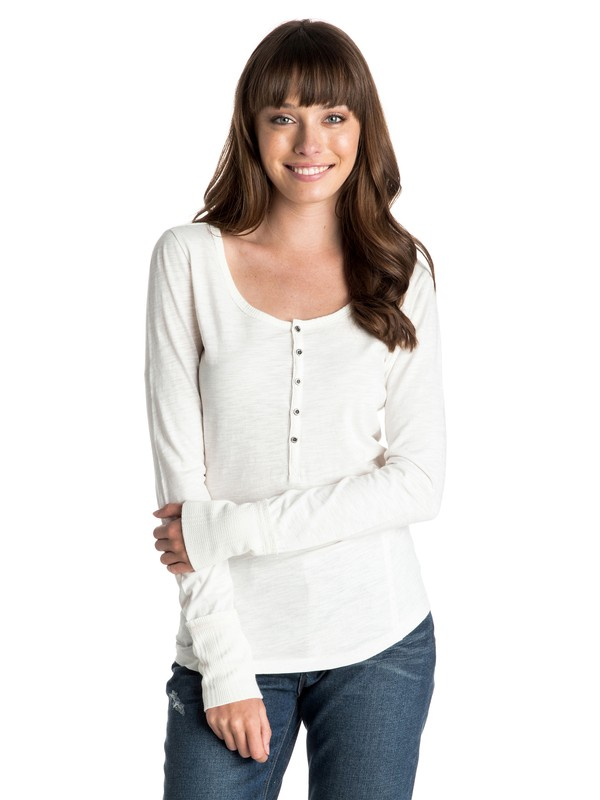 0 Oar Else - Long Sleeve Henley Top  ARJKT03154 Roxy