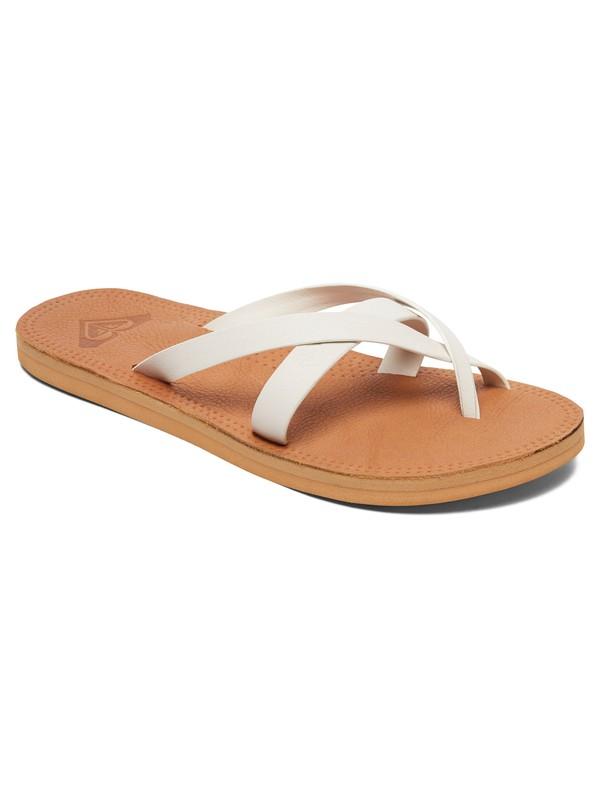 0 Gemma Leather Sandals White ARJL200690 Roxy