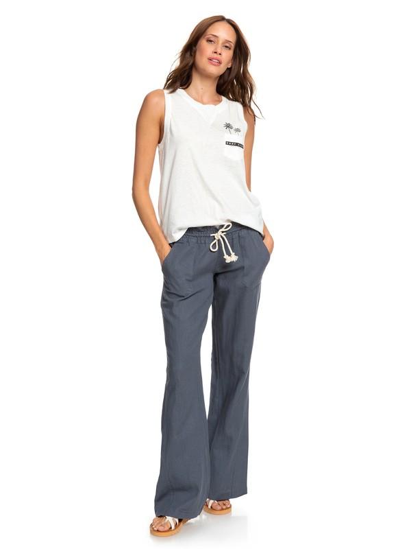 0 Oceanside Flared Linen Pants Black ARJNP03006 Roxy