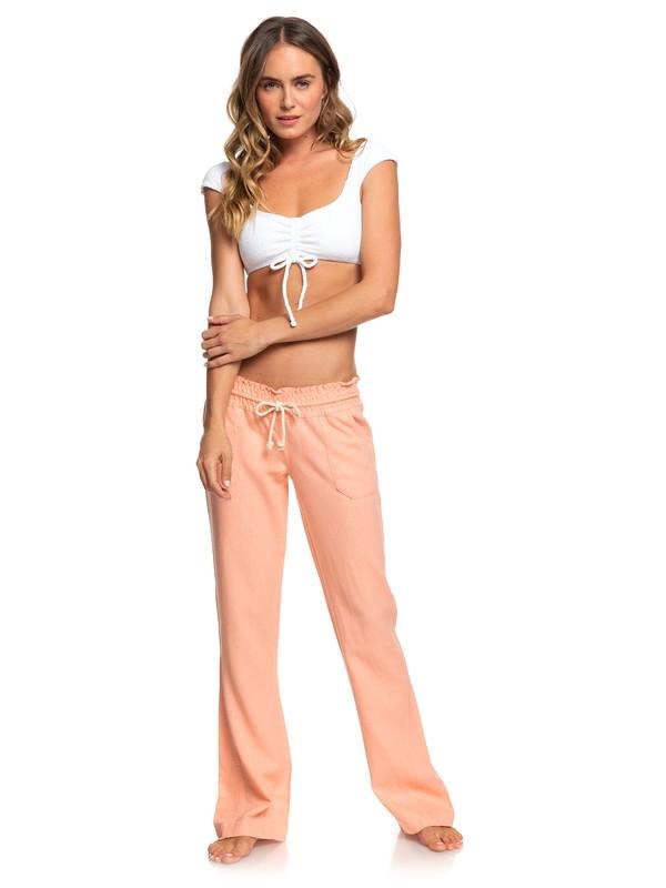 0 Oceanside Flared Linen Pants Pink ARJNP03006 Roxy