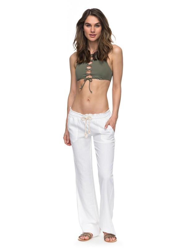 0 Oceanside Flared Linen Pants White ARJNP03006 Roxy
