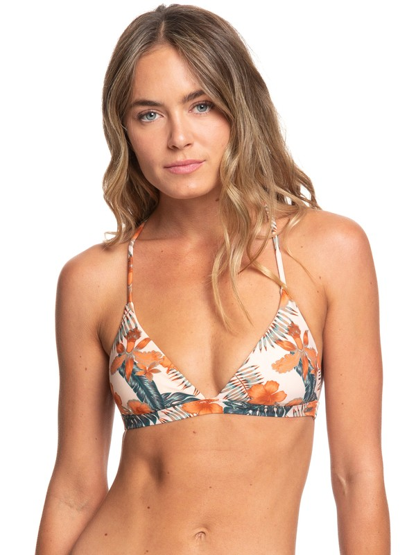 0 Printed Strappy Love Reversible Fixed Tri Bikini Top Beige ARJX303357 Roxy