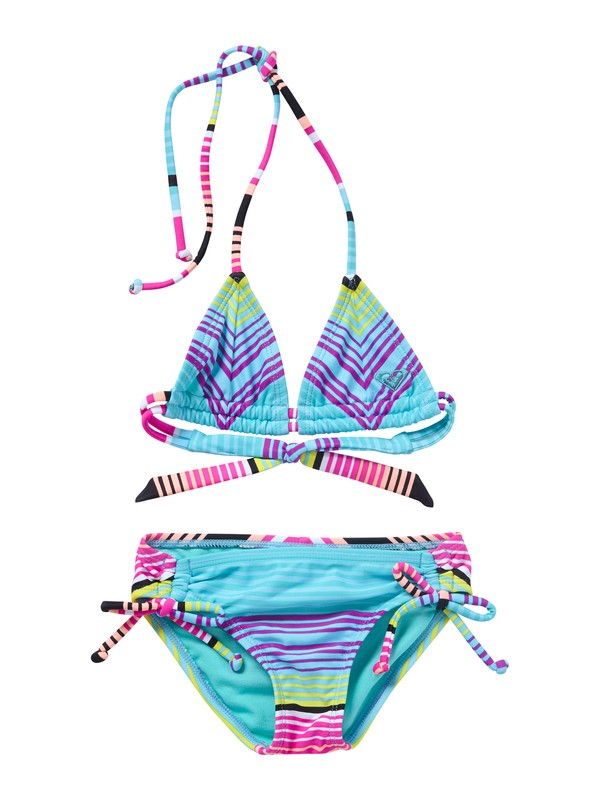 0 Girls 2-6 Roxy Border Tiki Tri Set Swimsuit  ARLX200003 Roxy