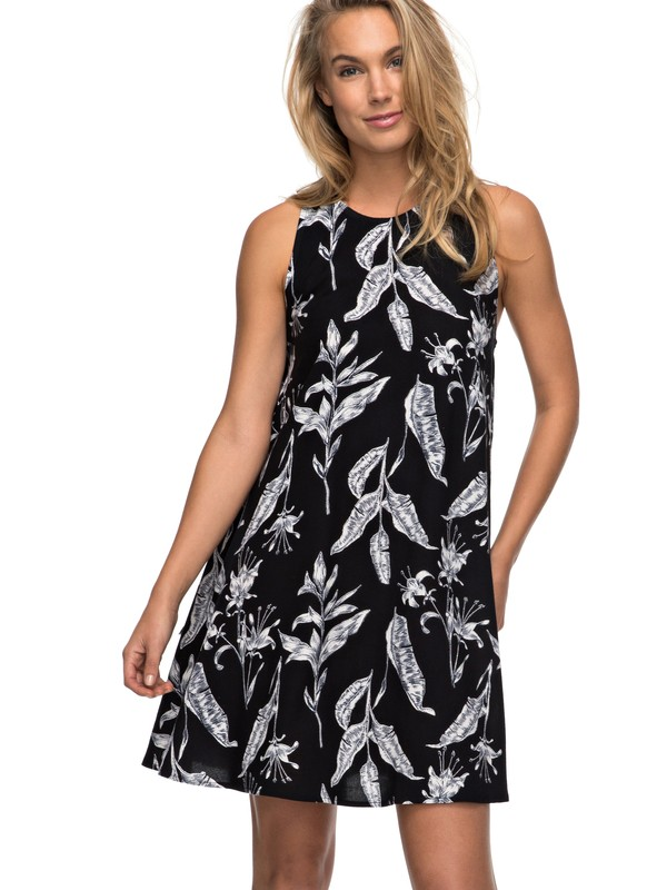 0 Vestido Feminino Curto Estampado Roxy Preto BR73811515 Roxy