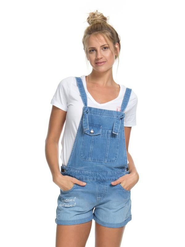 0 Macacão Jardineira Jeans Rush Roxy Azul BR73821073 Roxy