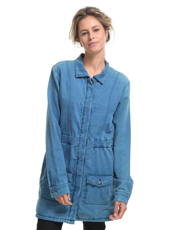 0 Parka Jeans c/ Forro de Sherpa Cozy Roxy Azul BR76421096 Roxy