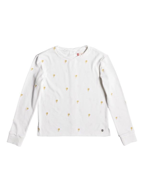 0 Girl's 7-14 Sky Survey Palmito Button Back Sweatshirt White ERGFT03228 Roxy