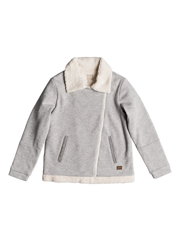 0 Girl's 7-14 Elephant Child Zip-Up Sherpa Lined Perfecto Jacket Grey ERGFT03325 Roxy