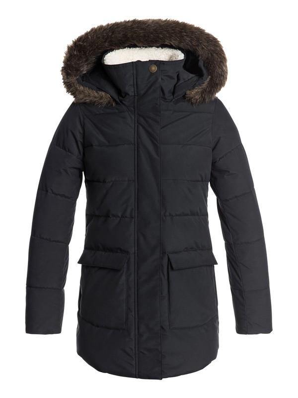 0 Girls 7-14 Elsie Water Repellent Hooded Longline Puffa Jacket Black ERGJK03054 Roxy