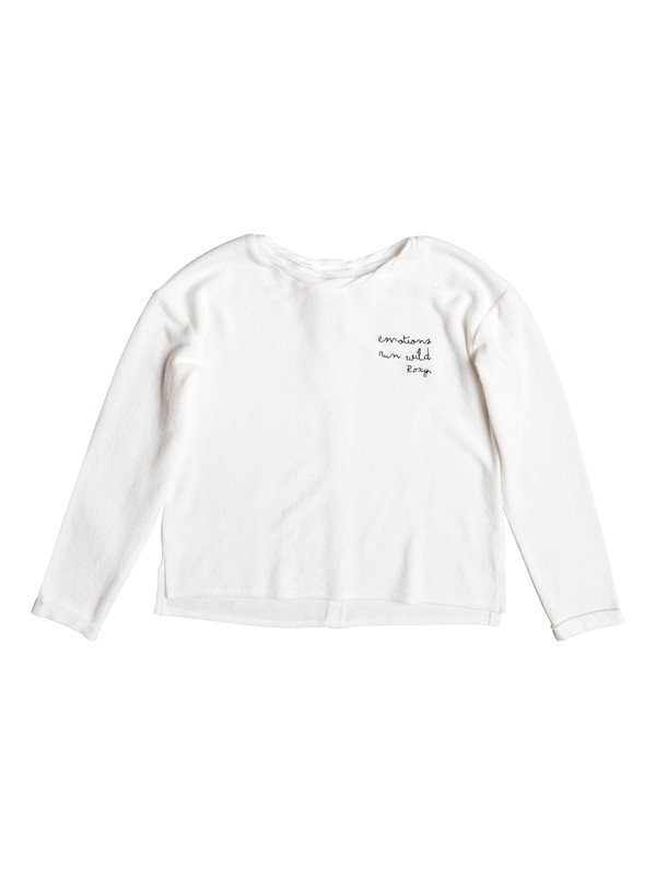 0 Predicting Happiness - Button-Back Long Sleeve Top for Girls 8-16 White ERGKT03062 Roxy