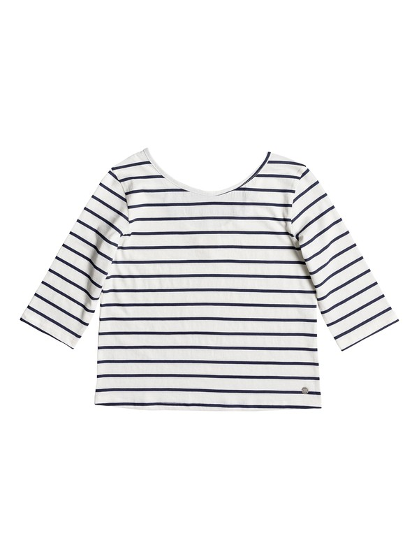 0 Girl's 7-14 Fields Of Heaven Stripes 3/4 Sleeve Top White ERGKT03071 Roxy