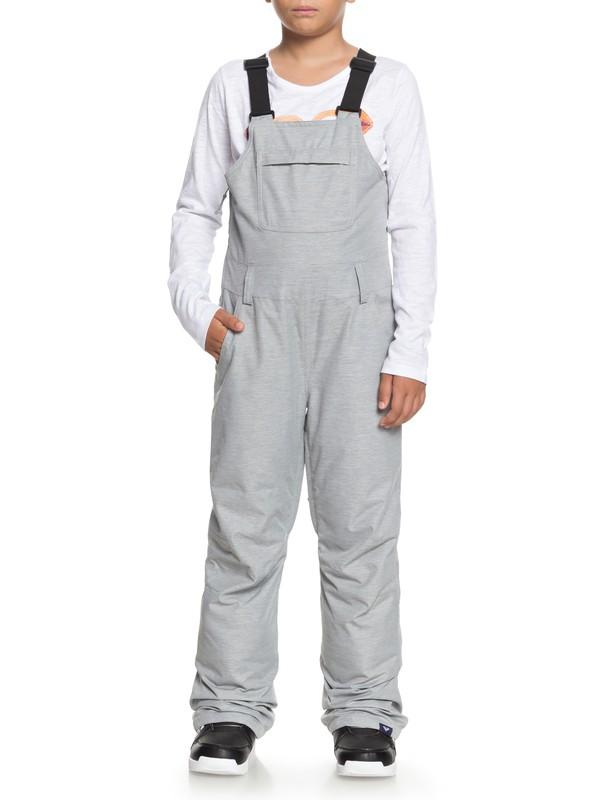 0 Girl's 7-14 Non Stop Snow Bib Pants Grey ERGTP03016 Roxy