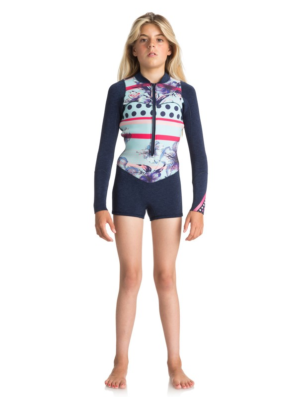 0 Girls 7-14 2mm Pop Surf  Long Sleeve Front Zip Springsuit Blue ERGW403004 Roxy