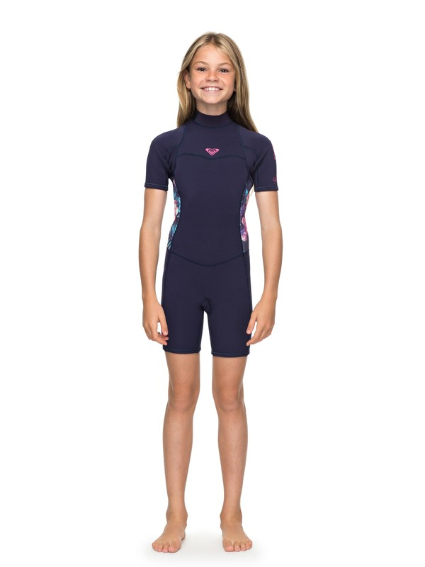 0 Girl's 7-14 2/2mm Syncro Series Short Sleeve Back Zip FLT Springsuit Blue ERGW503004 Roxy