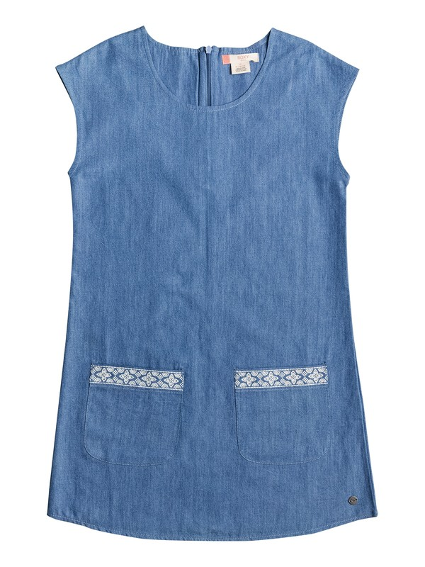 0 Girls 7-14 We Movin' Slow Sleeveless Denim Dress  ERGWD03023 Roxy