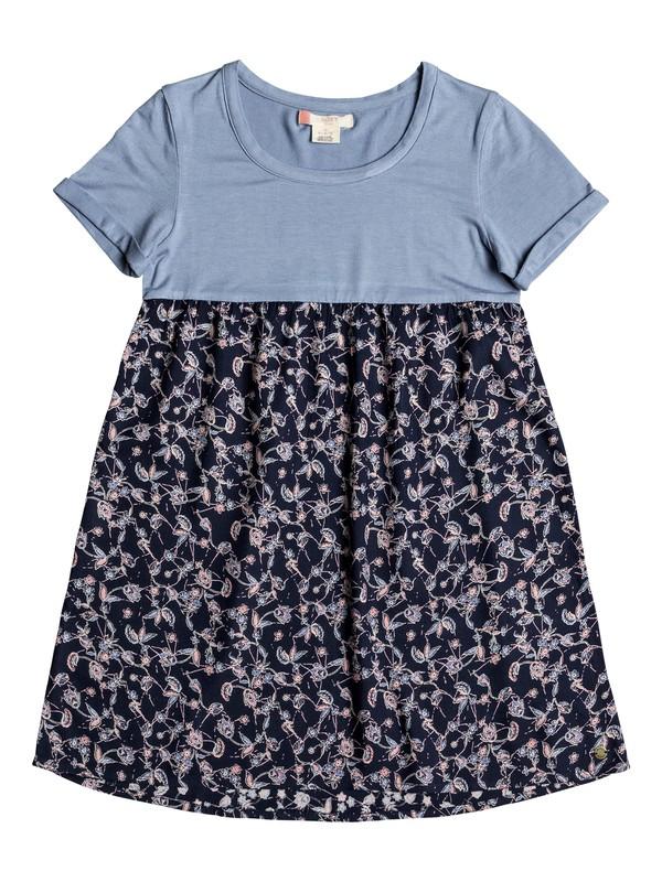 0 Girl's 7-14 Branche Of Lilac T-Shirt Dress Blue ERGWD03043 Roxy