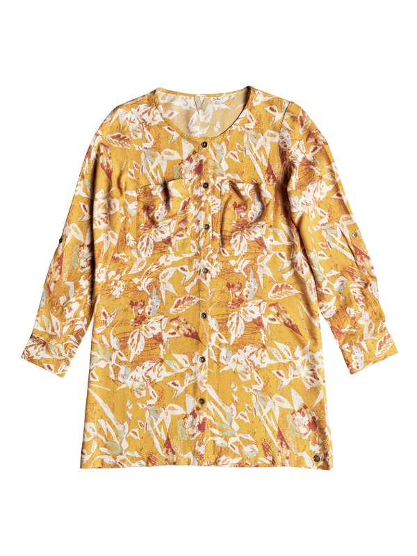 0 Girls 7-14 Sun Is Shining Long Sleeve Dress Yellow ERGWD03061 Roxy