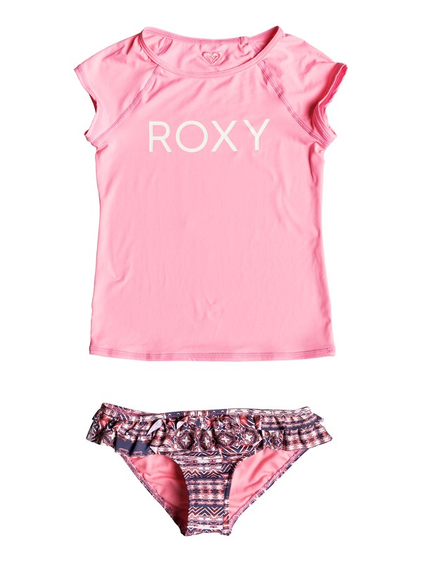 0 Girl's 7-14 Wavy Beach Short Sleeve Rashguard Set  ERGWR03068 Roxy