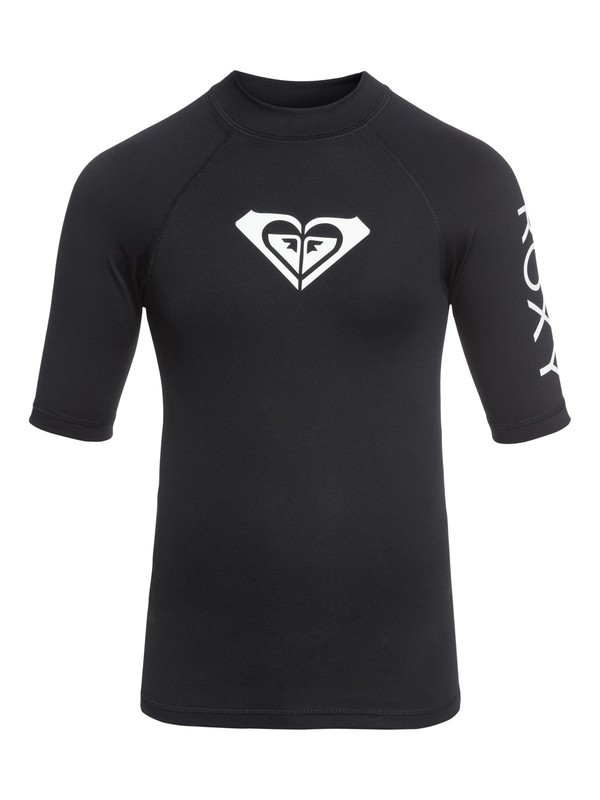0 Whole Hearted - Short Sleeve UPF 50 Rash Vest for Girls 8-16 Black ERGWR03079 Roxy