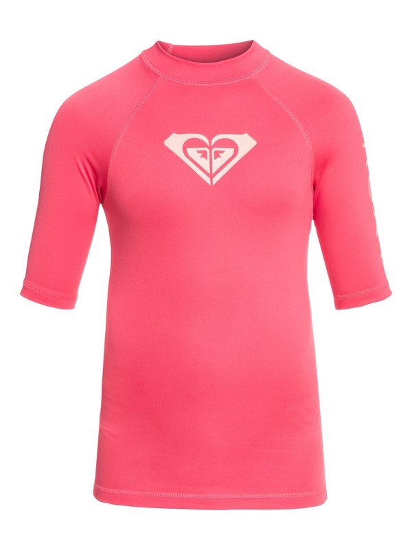 0 Whole Hearted - Short Sleeve UPF 50 Rash Vest Pink ERGWR03079 Roxy