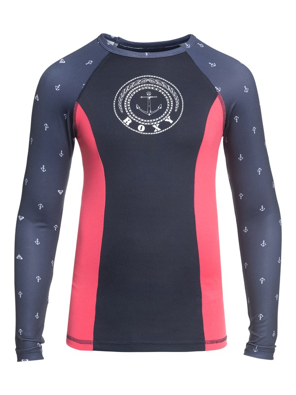 0 Girl's 7-14 Tropi ROXY Long Sleeve UPF 50 Rashguard Blue ERGWR03080 Roxy
