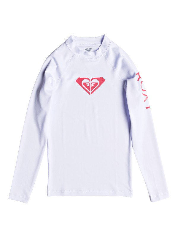 0 Girl's 7-14 Whole Hearted Long Sleeve UPF 50 Rashguard White ERGWR03081 Roxy