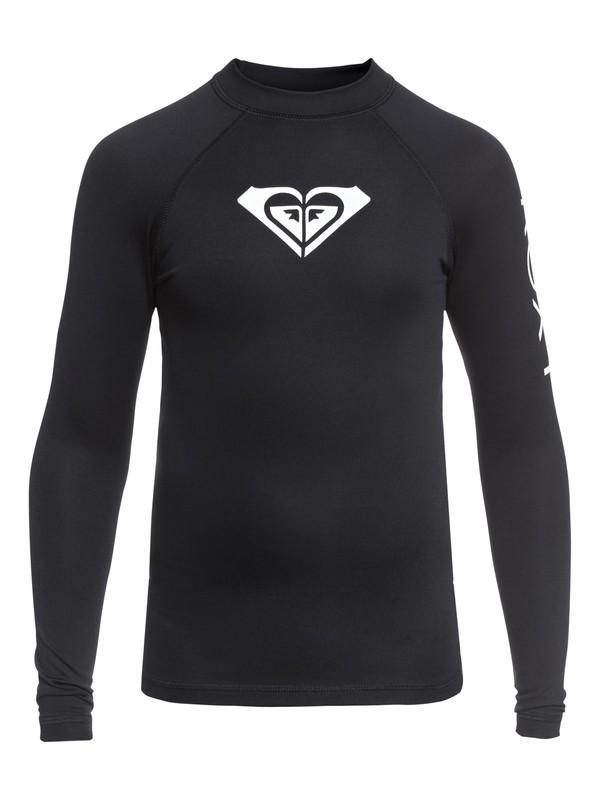 0 Girl's 7-14 Whole Hearted Long Sleeve UPF 50 Rashguard Black ERGWR03081 Roxy