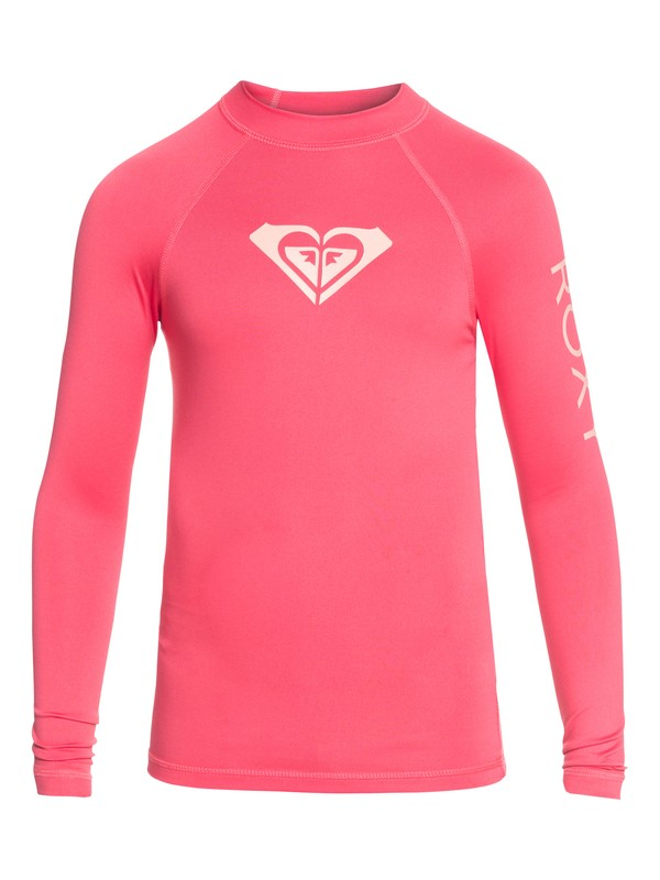 0 Whole Hearted - Long Sleeve UPF 50 Rash Vest for Girls 8-16 Pink ERGWR03081 Roxy