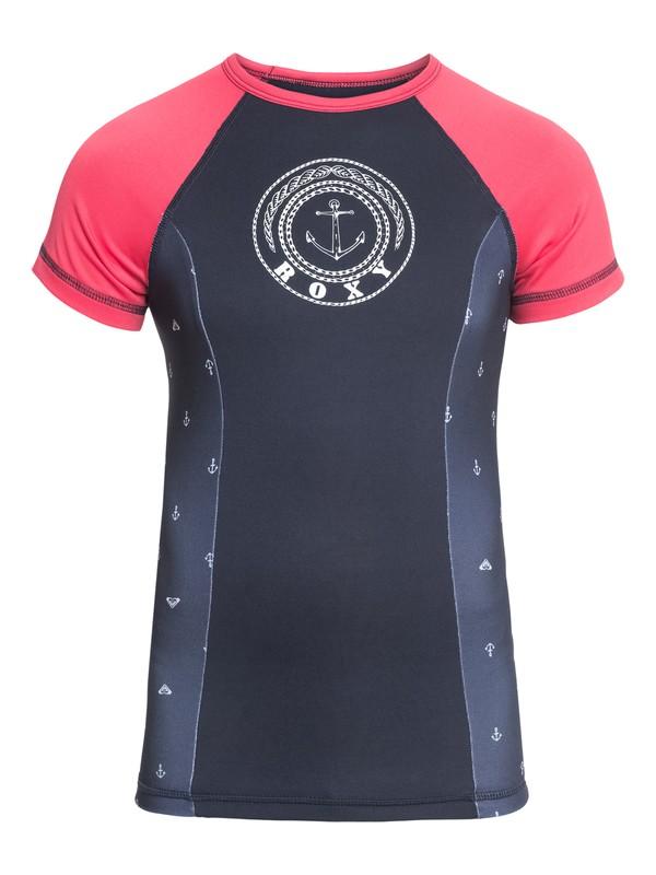 0 Tropi ROXY - Short Sleeve UPF 50 Rash Vest for Girls 8-16 Blue ERGWR03082 Roxy