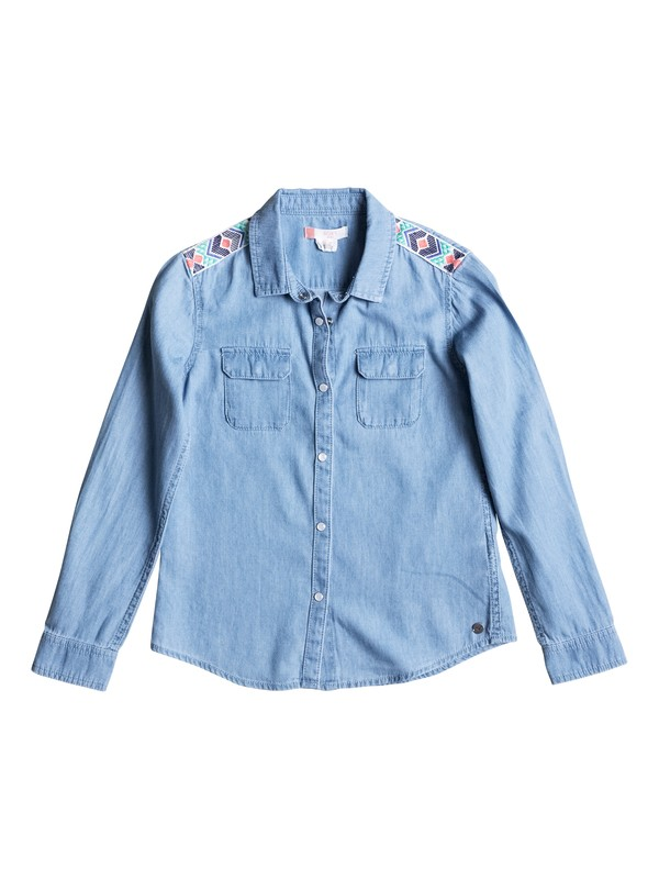 0 Girls 7-14 Water Priorities Long Sleeve Denim Shirt  ERGWT03012 Roxy