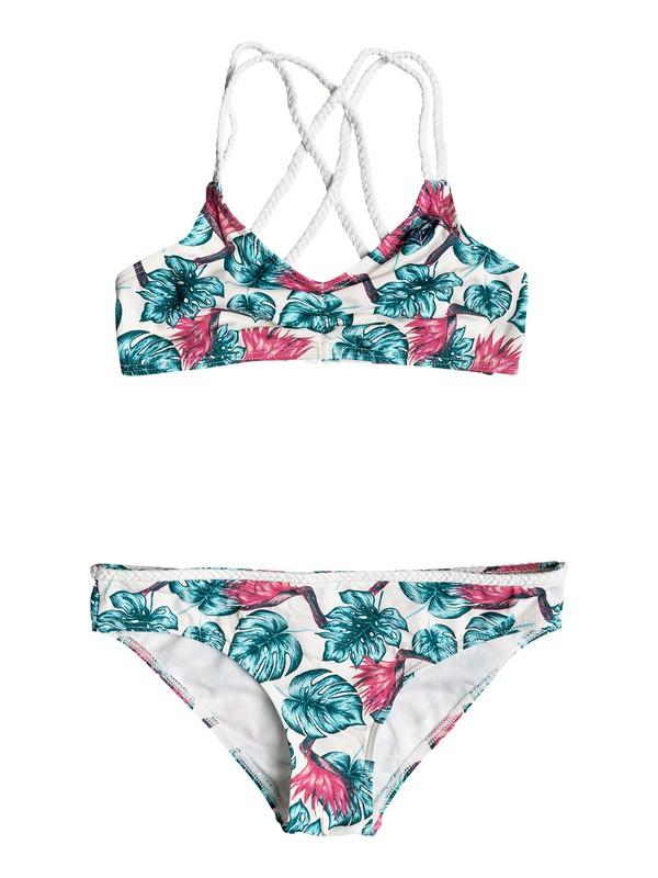 0 Girls 7-14 Beach Days Athletic Tri Bikini Set White ERGX203129 Roxy