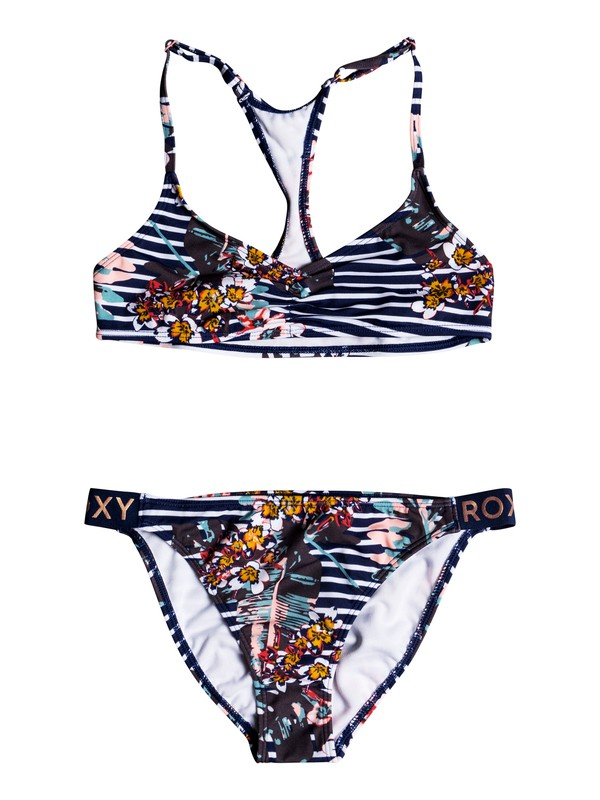 0 Girls 7-14 Keep In Flow Athletic Bikini Set Blue ERGX203168 Roxy