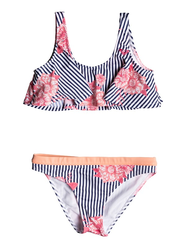 0 Girl's 7-14 Young And Free Flutter Bikini Set Blue ERGX203179 Roxy