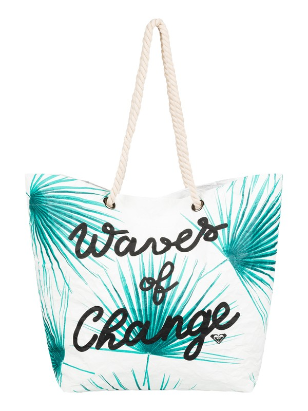 0 Waves Of Changes Reversible Recycled Beach Bag White ERJBT03125 Roxy