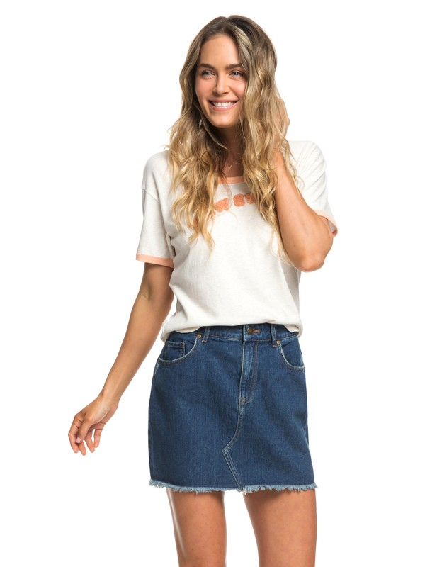 0 Icon Denim Skirt Blue ERJDK03009 Roxy