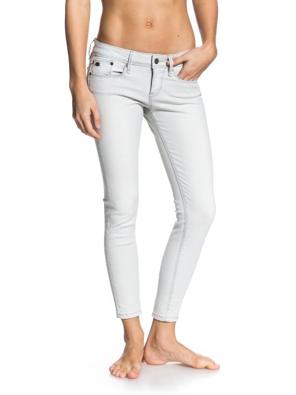 0 Suntrippers Crop Pearl Grey Jeans  ERJDP03014 Roxy