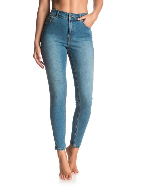 0 Night Spirit Medium Blue Skinny High Waisted Jeans  ERJDP03152 Roxy