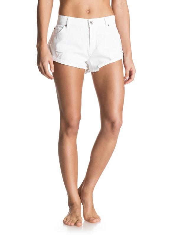 0 Peaceful White Denim Shorts  ERJDS03085 Roxy