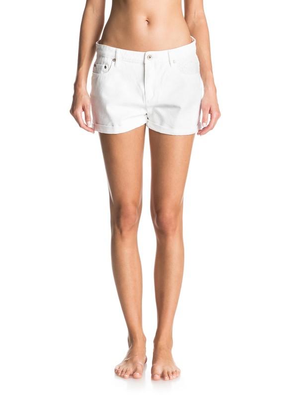 0 Lovely Lace Cuffed White Denim Shorts  ERJDS03116 Roxy