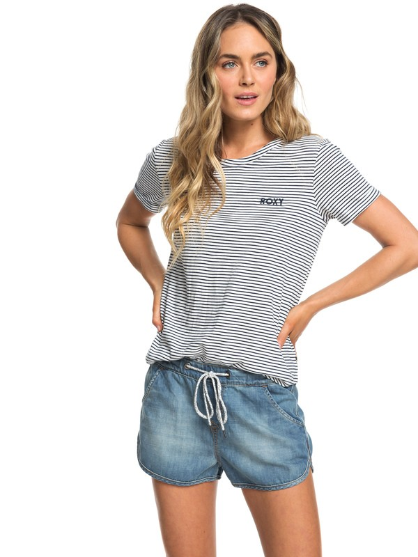 0 Music Never Stop Denim Shorts Blue ERJDS03152 Roxy