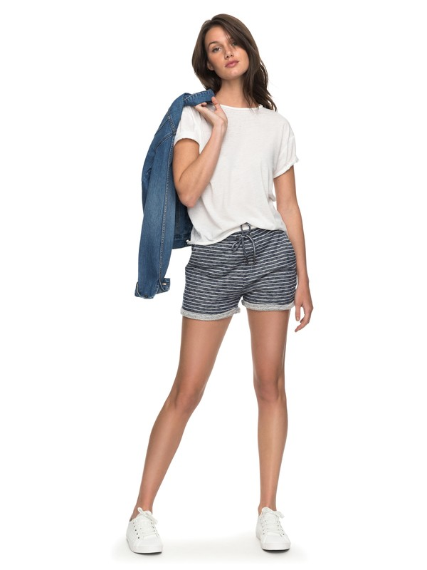 0 Trippin Stripe Fleece Lounge Shorts White ERJFB03152 Roxy