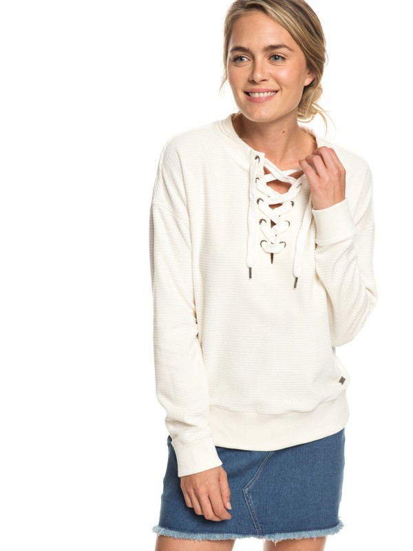 0 Lucky Sunshine Lace-Up Velour Sweatshirt White ERJFT03927 Roxy