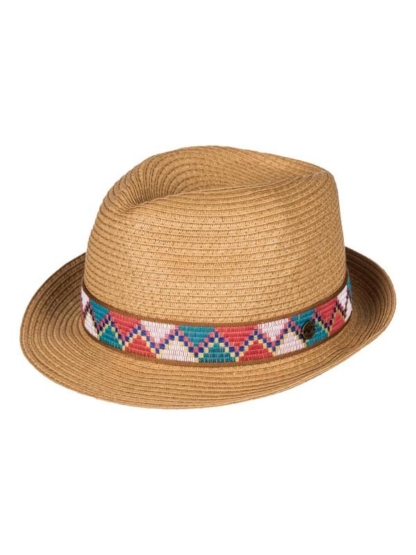 0 Sentimiento - Chapeau de paille style fedora Jaune ERJHA03218 Roxy