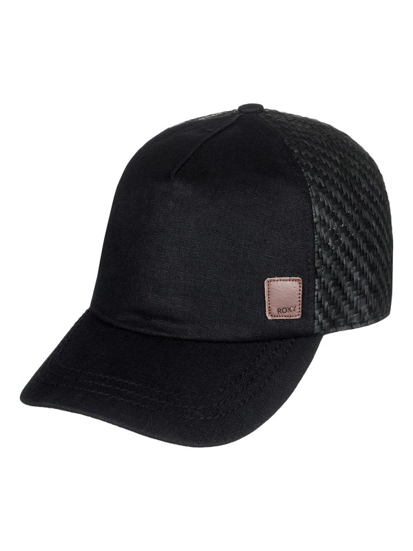 0 Incognito Straw Back Trucker Hat Black ERJHA03438 Roxy