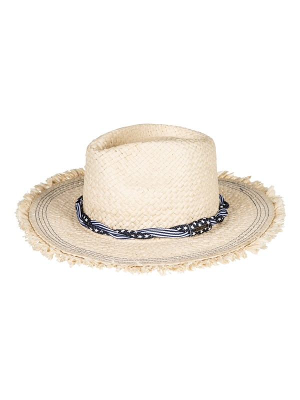 0 Beach Wearing Straw Panama Hat Yellow ERJHA03449 Roxy