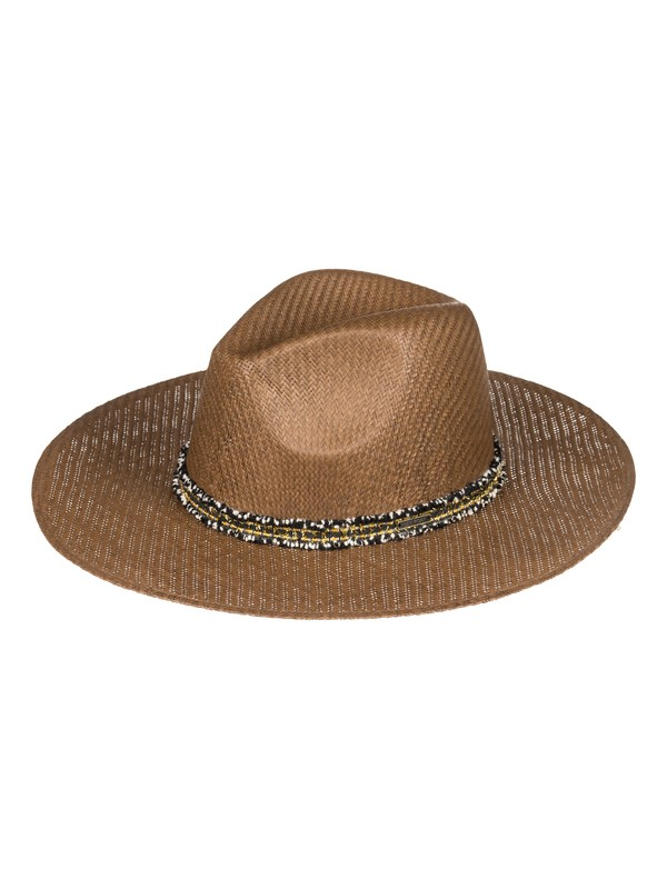 0 Here We Go Straw Sun Hat Brown ERJHA03526 Roxy