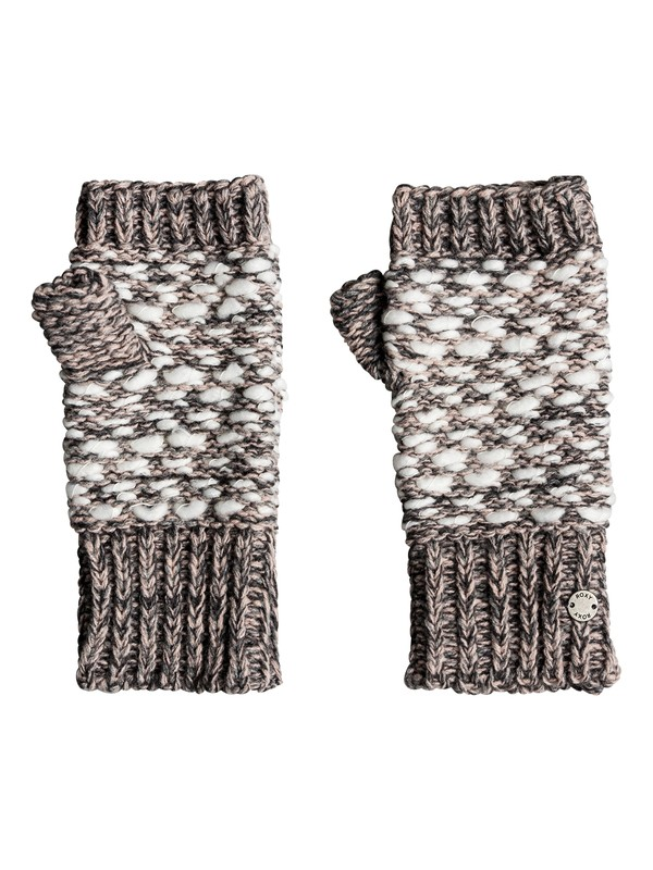 0 Corner Of The Fire Knitted Fingerless Gloves Grey ERJHN03118 Roxy