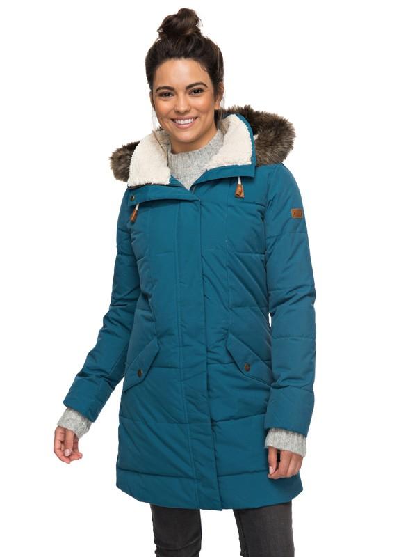 0 Ellie 5K - Wasserdichte, lang geschnittene Jacke mit Kapuze für Frauen Blau ERJJK03186 Roxy
