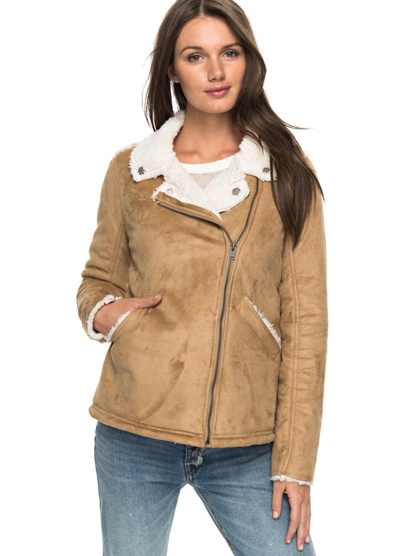 0 Love Found - Faux-Shearling Jacket Brown ERJJK03201 Roxy