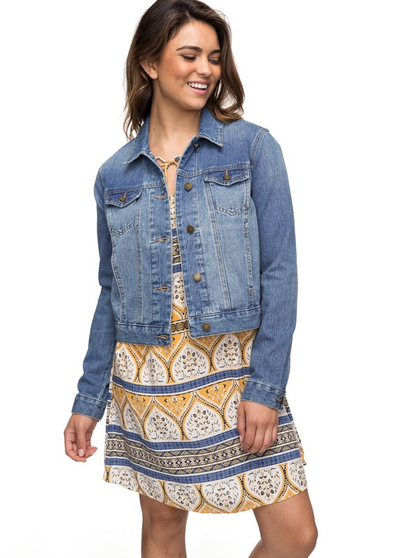 0 Hello Spring - Denim Jacket for Women Blue ERJJK03226 Roxy